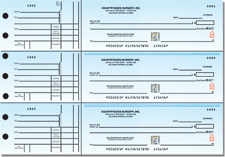 Securiguard Premium Blue 3-on-a-Page Personal Checks