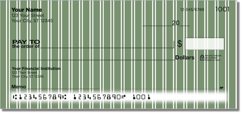 Green Pinstripe Personal Checks