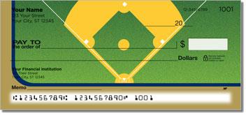 Blue & Gold Baseball Fan Personalized Checks