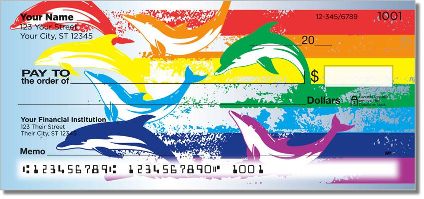 Rainbow Dolphin Personal Checks