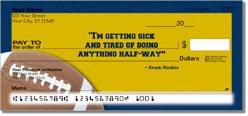 Knute Rockne Personalized Checks