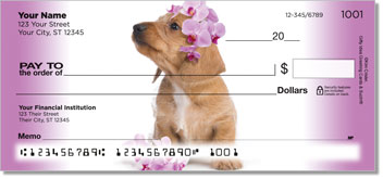 Pups in Bloom 3 Personalized Checks