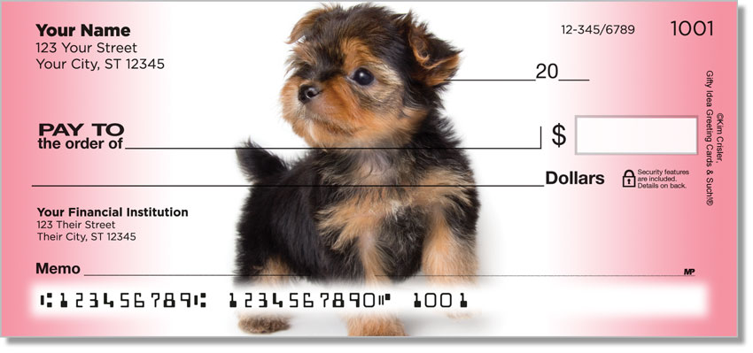 Yorkie Pup Personal Checks