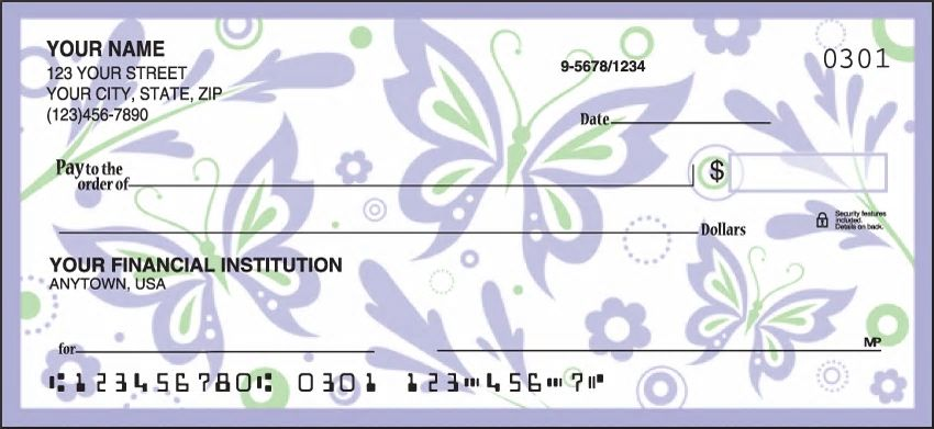Paper Butterflies Personal Checks