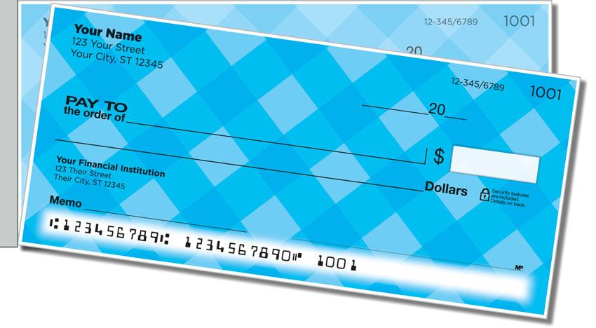 Blue Plaid Side Tear Personal Checks