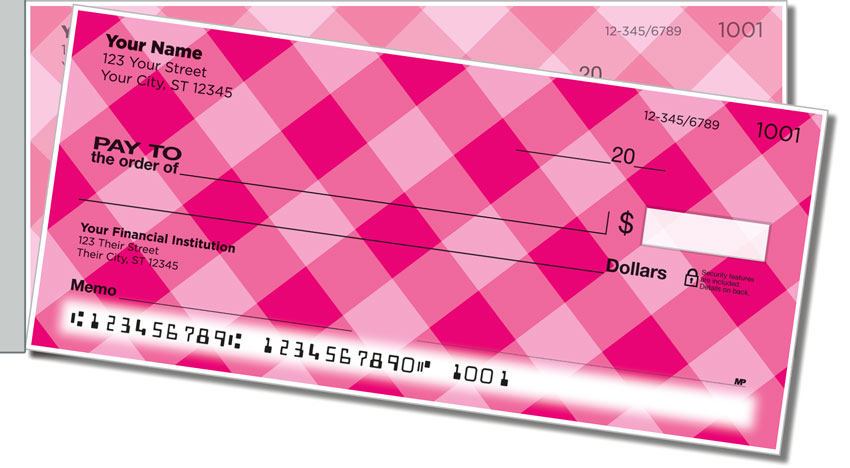 Pink Plaid Side Tear Personal Checks