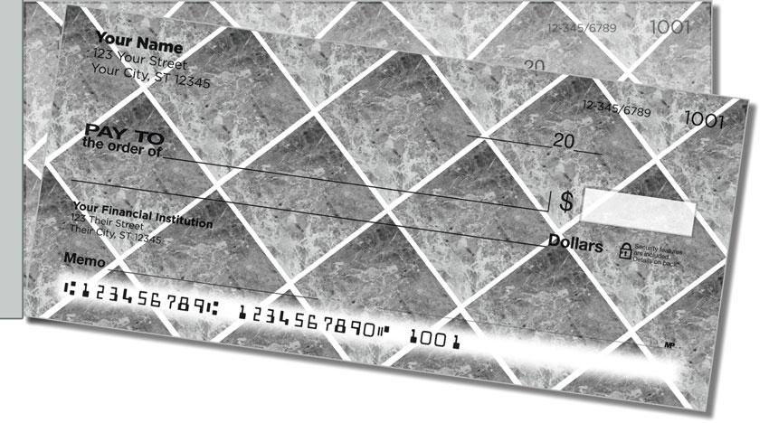 Silver Marble Tile Side Tear Personal Checks
