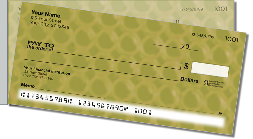 Gold Bubble Pattern Side Tear Personal Checks