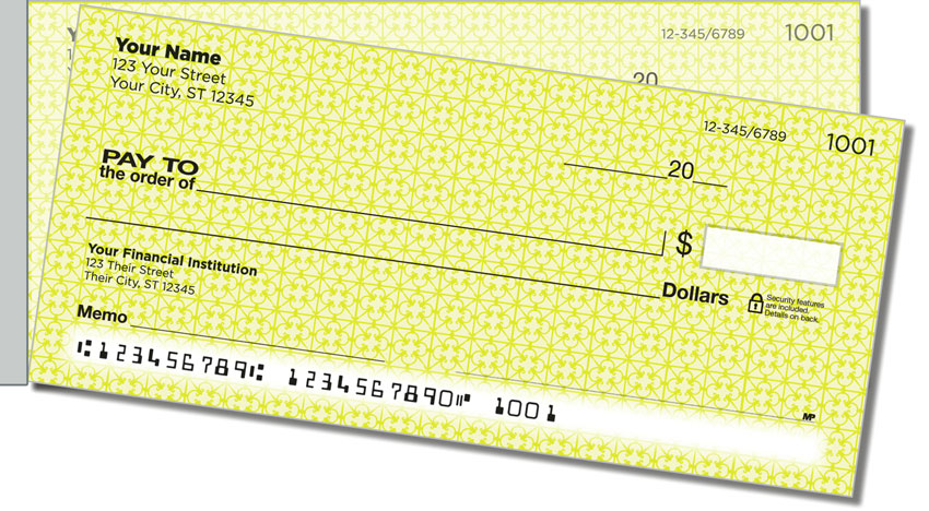 Yellow Box Scroll Side Tear Personal Checks