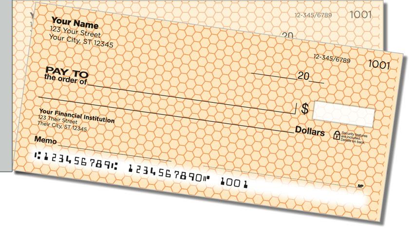 Orange Honeycomb Side Tear Personal Checks
