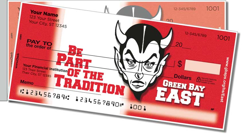 Green Bay East Athletic Side Tear Personal Checks