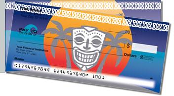 Tribal Mask Side Tear Design Checks