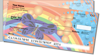 Retro Rainbow Side Tear Personalized Checks