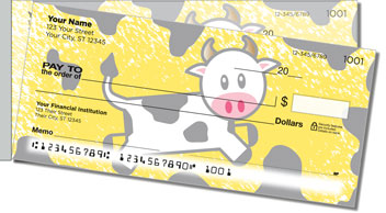 Cute Cow Side Tear Personalized Checks