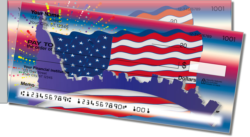 Patriotic Party Side Tear Personal Checks