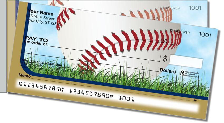 Blue & Gold Baseball Fan Side Tear Personal Checks