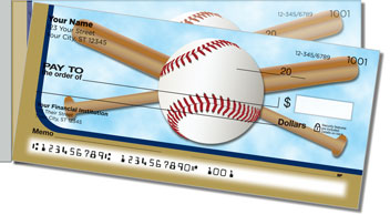 Blue & Gold Baseball Fan Side Tear Design Checks