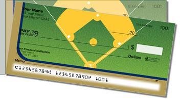 Blue & Gold Baseball Fan Side Tear Personalized Checks