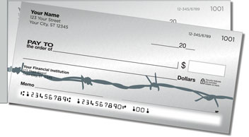 Barbed Wire Fence Side Tear Personalized Checks