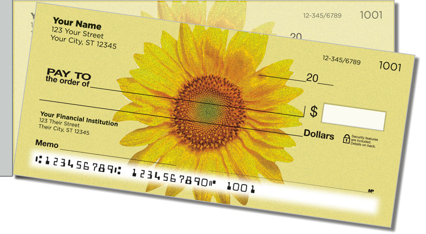 Artistic Sunflower Side Tear Personal Checks