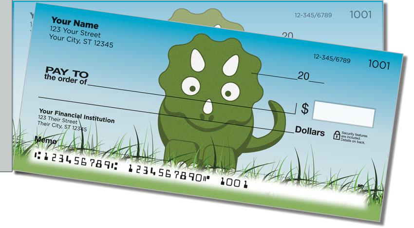Cute Dino Side Tear Personal Checks