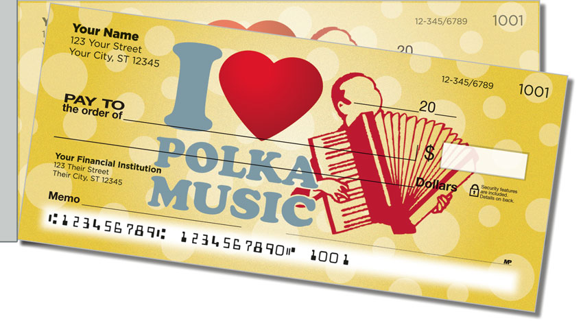 Polka Music Side Tear Personal Checks