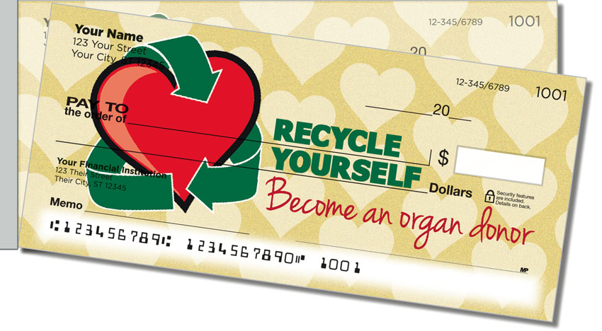 Organ Donation Side Tear Personal Checks
