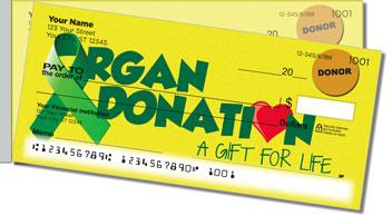 Organ Donation Side Tear Personalized Checks