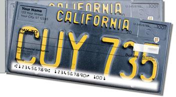 California License Plate Side Tear Design Checks