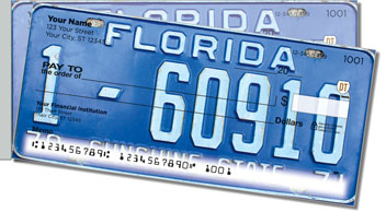Florida License Plate Side Tear Personalized Checks