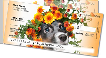 Pups in Bloom 1 Side Tear Personalized Checks