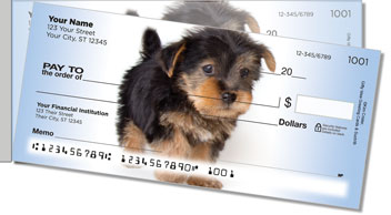 Yorkie Pup Side Tear Personalized Checks