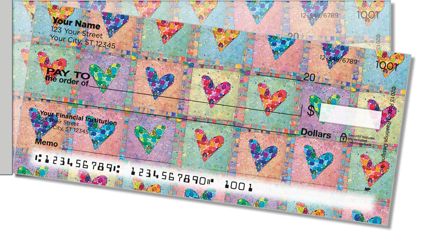 Patchwork Heart Side Tear Personal Checks