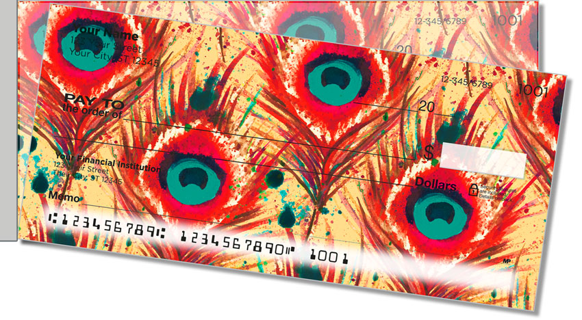 Feather Frenzy Side Tear Personal Checks