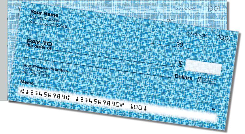 Blue Linen Side Tear Personal Checks