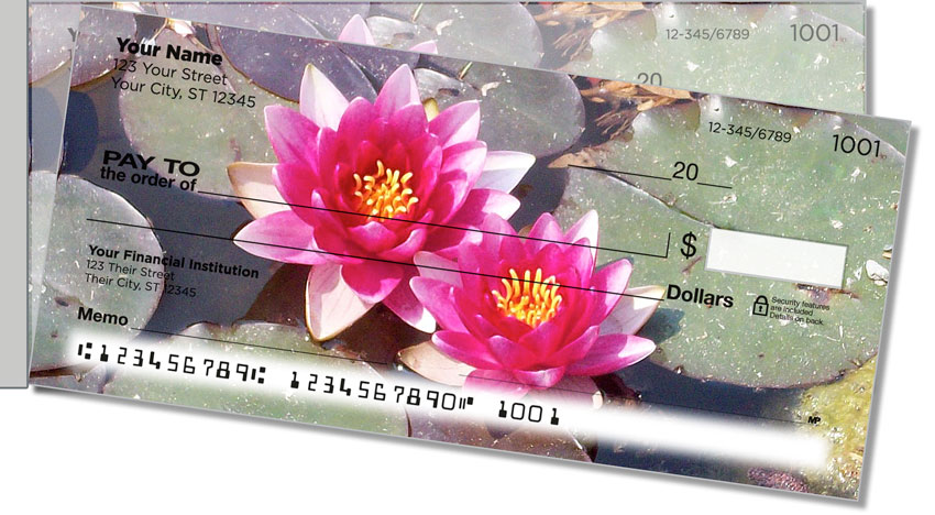 Water Lily Side Tear Personal Checks