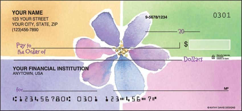 Watercolors Flowers Personal Checks